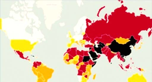 جدول ردهبندی آزادی رسانهها در سالی که گذشت؛ ایران در ردهی ۱۷۳ از ۱۸۰ کشور