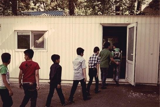 یک مدرسه کانکسی در سرعین به دلیل وقوع تندباد تخریب شد