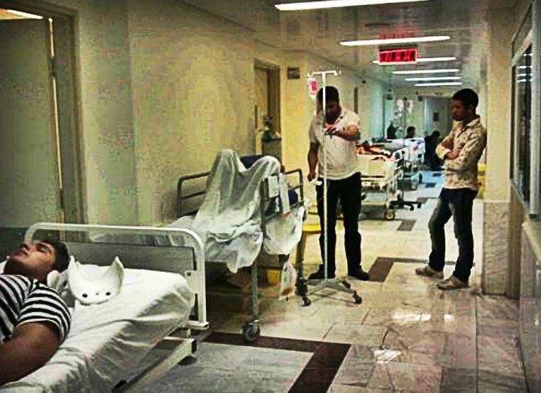 بستری شدن بیماران بروجردی در راهروی بیمارستان