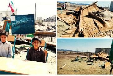 مدرسه کپری یک روستا در کنارک براثر باد فروریخت