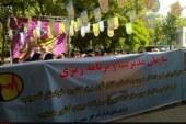 تجمع کلاه زردها مقابل سازمان مدیریت و برنامهریزی کشور
