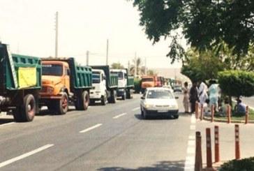 تجمع کامیون داران چابهاری در پی کم شدن میزان سوخت