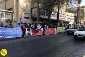 تجمع بیش از ۲۰۰ نفری کارگران گروه ملی فولاد مقابل بانک ملی اهواز