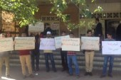 تجمع اعضای جنبش عدالتخواهی همزمان با شروع جلسه محاکمه یاشار سلطانی مقابل دادگاه انقلاب