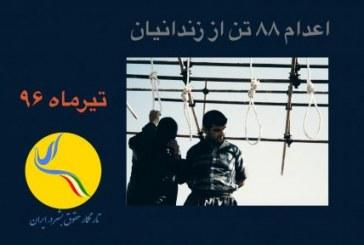 اجرای حکم اعدام دستکم ۸۸ زندانی طی ماه گذشته
