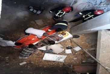 مصدومیت یک کارگر براثر سقوط از ساختمان پلمب شده